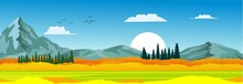 Banner Horizontal Natural Landscape, Blue Sky With Clouds, Mountains, Hills And Forest, Vector Illustration