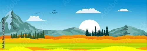 Vászonkép Banner horizontal natural landscape, blue sky with clouds, mountains, hills and