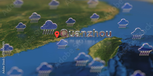 Rainy weather icons near Quanzhou city on the map, weather forecast related 3D r Canvas Print
