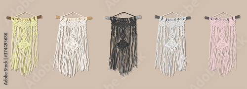 Photo set of identical wall panels using macrame technique in yellow, pink, gray, and
