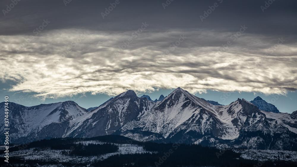 Belianske Tatras on a cloudy day in winter