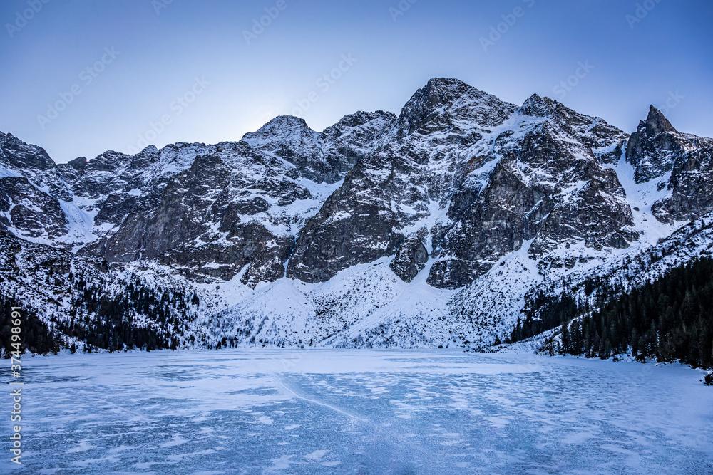 Stunning frozen Morskie Oko lake in Tatra mountain