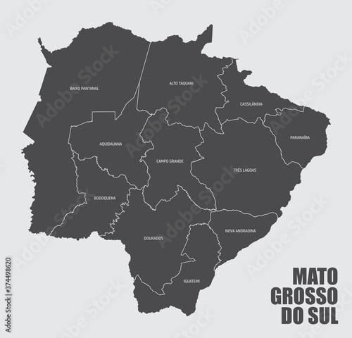 Fényképezés Mato Grosso do Sul State regions map
