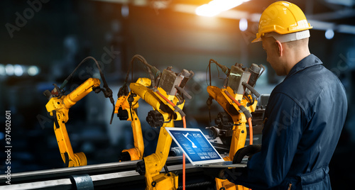 Smart industry robot arms for digital factory production technology showing automation manufacturing process of the Industry 4 Canvas Print