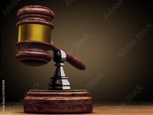 Obraz na płótnie Hammer of justice, a black-and-white pawn of a chess piece