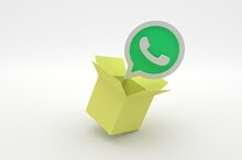 3D Whatsapp App Icon Notification Flying Out Of Cardboard Box On White Background With Shadow 3D Rendering Stock Photo. 3D Illustration