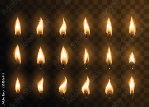 Fototapeta Candle animated flames with realistic flare texture isolated