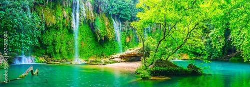 Panorama of Kursunlu waterfall, Aksu, Turkey Fototapeta