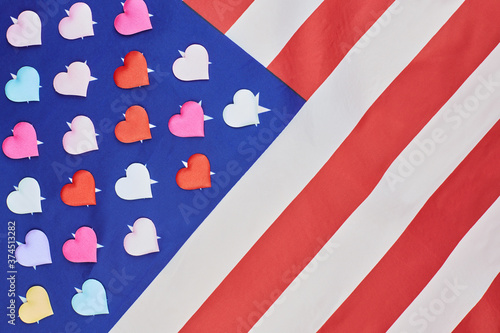 National USA american flag with hearts on stars Fototapet