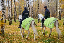 Mounted Police In Autumn City Park, Back View