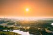 Minsk, Belarus. Top view, cityscape of Minsk, Belarus. Summer season, sunset. Nyamiha district. War Museum