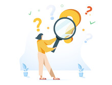 Woman Holding Magnifying Glass And Looking Through It At Interrogation Points. Concept Of Frequently Asked Questions
