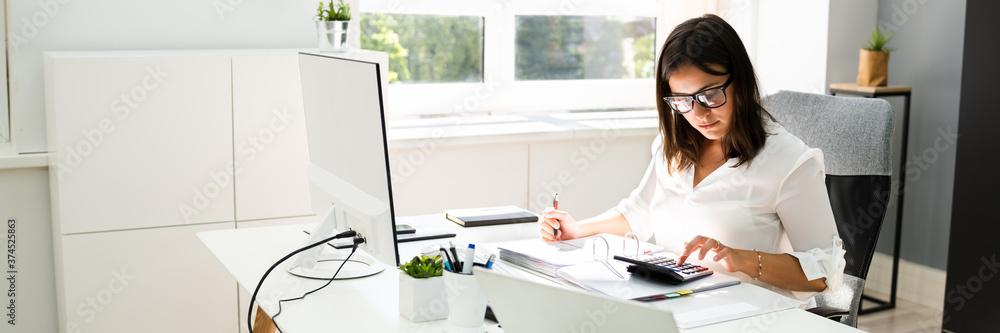 Fototapeta Accounting Bookkeeper Clerk Woman. Bank Advisor