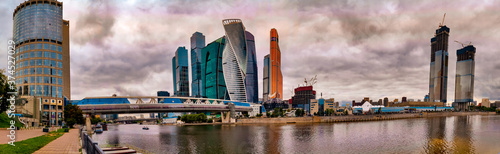 Foto Panorama of the Moscow International Business Center on a dusky day