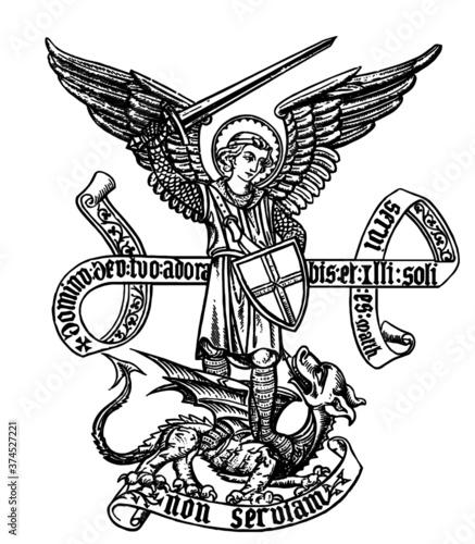 Obraz na plátne Saint Michael defeating Satan Line Art