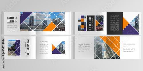 Obraz Vector layouts of horizontal presentation templates for landscape design brochure, cover design, book design, magazine. Abstract design project in geometric style with squares and place for photo. - fototapety do salonu