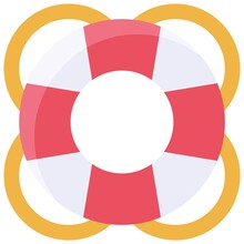 Lifebuoy Or Lifebelt Icon, Summer Vacation Related Vector