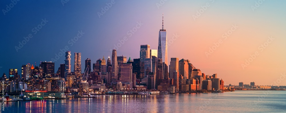 Fototapeta New York City downtown skyline day and night