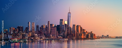 New York City downtown skyline day and night Fototapeta