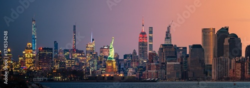 New York City downtown skyline day and night