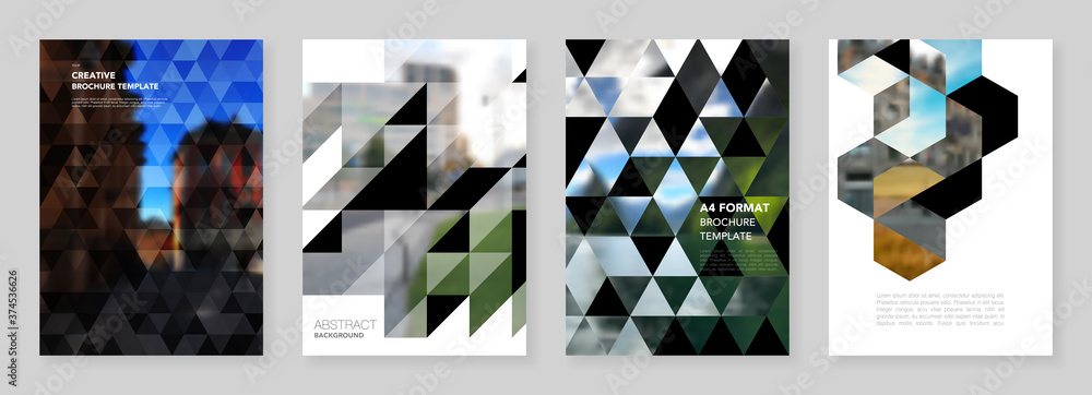 Fototapeta A4 brochure layout of covers design template with triangles, triangular pattern for flyer leaflet, A4 brochure design, report, presentation, magazine cover, book design.Background with place for photo
