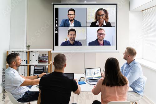 Obraz na plátně Online Video Conference Training Business Meeting