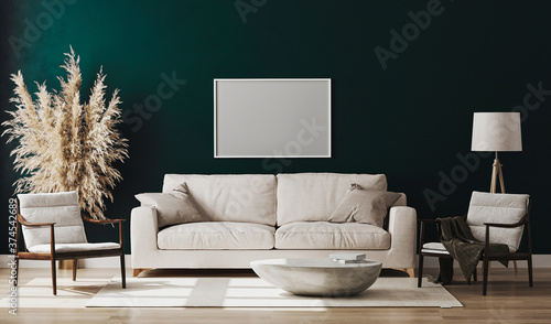 Cuadros en Lienzo Blank picture frame mock up in emerald colour room interior , 3d rendering