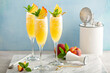 canvas print picture Peach mimosa or bellini cocktails for brunch