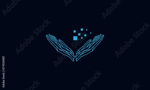 Foto hands up technology data line connect logo design