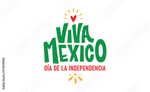 Fototapeta Viva Mexico, colorful lettering with flag colors