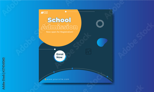 Fotografía Trendy school admission social media banner template design