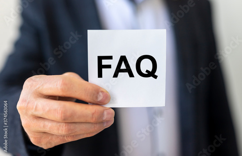 FAQ word text acronym inscription, frequently asked questions Canvas Print