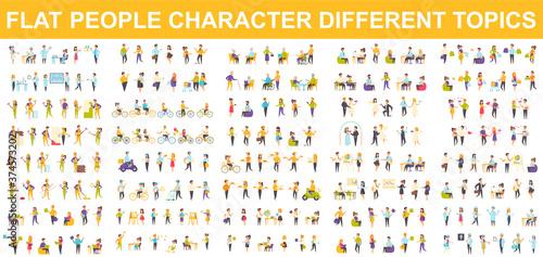 Bundle vector flat people character Canvas
