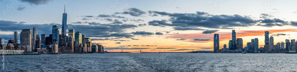 Fototapeta Panoramic view of the Lower Manhattan and New Jersey skyline