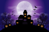 Halloween background with haunted house and full moon