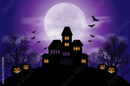 Halloween background with haunted house and full moon Wallpaper Mural