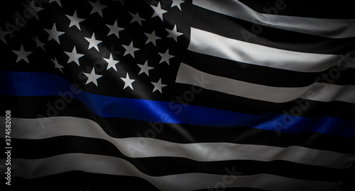 Police Thin Blue Line Flag Fotobehang