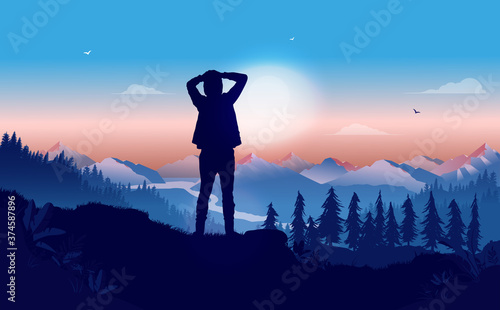 Thinking about life - Person standing on hilltop contemplating and wondering about what the future will bring Canvas Print