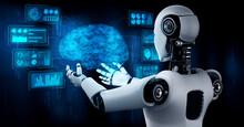 AI Humanoid Robot Holding Virt...