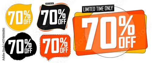 Fototapeta Set Sale 70% off banners, discount tags design template, vector illustration