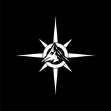 Mountain compass illustration logo design isolated on dark background