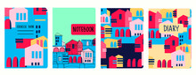 Set Of Cover Page Vector Templates Based On Seamless Patterns With Abstract Modern Cityscapes. Perfect For Exercise Books, Notebooks, Diaries, Presentations
