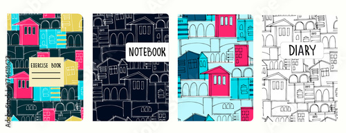 Foto Set of cover page vector templates based on seamless patterns with cityscapes, historic buildings, archways