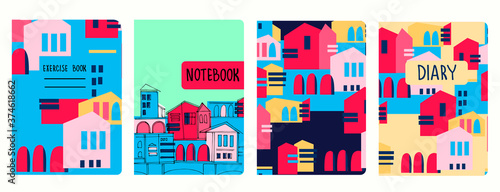 Set of cover page vector templates based on seamless patterns with abstract modern cityscapes Wallpaper Mural