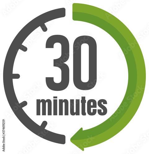 Fototapeta Clock , timer (time passage) icon / 30 minutes.