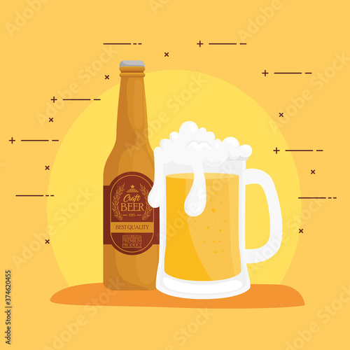 Fotografiet Beer glass and bottle design, Pub alcohol bar brewery drink ale and lager theme