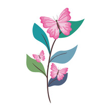 Pink Butterflies On Leaves Des...