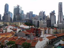 Singapore, March 7, 2016: View Of The City From The Terrace Of The Buddha Tooth Relic Temple. Singapore