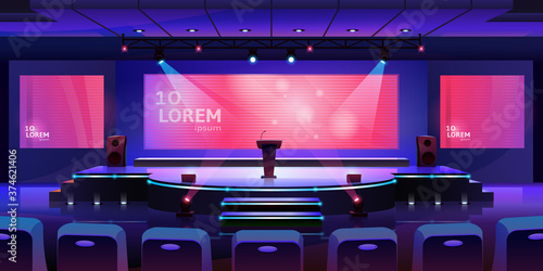 Stage for event or conference with tribune, convention hall for presentation or concert, vector background Slika na platnu