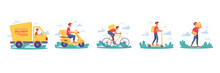 Delivery Service, Couriers Delivering Parcel Boxes On Bicycle And Moped Scooter, Vector Isolated Flat Cartoon Icons. Express Delivery Truck, Courier Man Or Boy Delivering Yellow Parcels Or Post Boxes